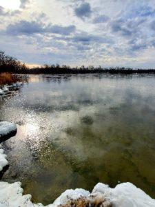 snowy edge of lake