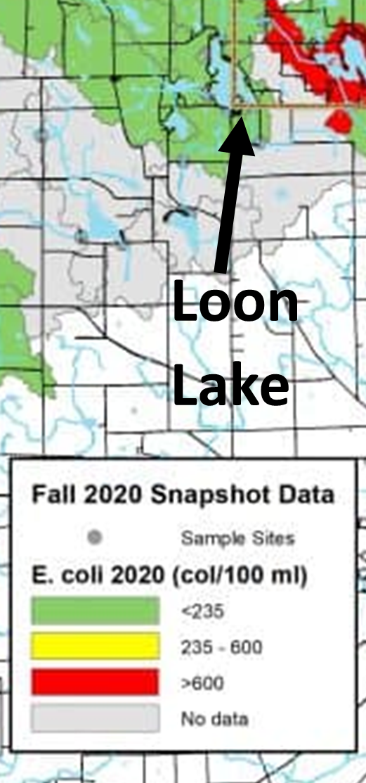 map of area around loon lake and the snap shot data showing green levels around loon lake